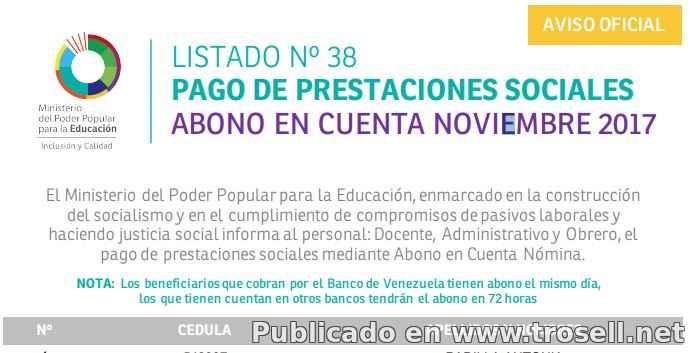 #Enterate Ya! LISTADO 38 SINCERADO #OFICIAL DE PRESTACIONES SOCIALES MPPE