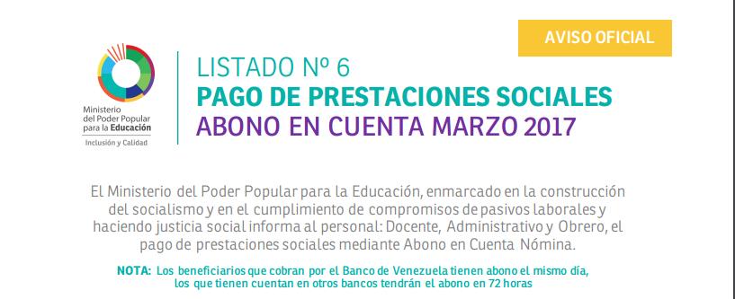 #Enterate Ya! 6TO LISTADO #OFICIAL DE PRESTACIONES SOCIALES MPPE
