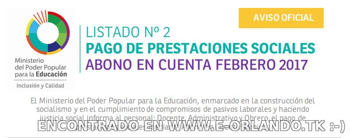 #Enterate Ya! 2DO LISTADO #OFICIAL DE PRESTACIONES SOCIALES MPPE