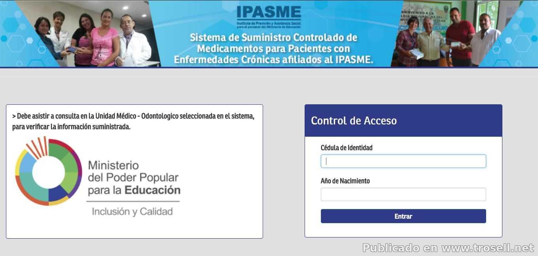 REGISTRO PARA RECIBIR MEDICAMENTOS VIA IPASME MINISTERIO DE EDUCACION